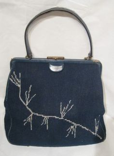 Vintage 1940s-1950s Large Navy Blue Tapestry Needlepoint Frame Handbag with Leather Trim by GoodBuyForNow on Etsy