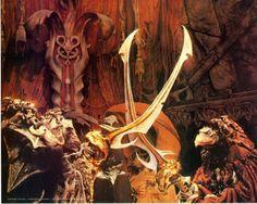 The Skeksis lock swords in The Dark Crystal