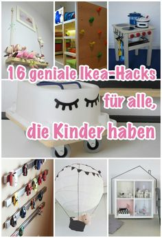 16 ingenious Ikea hacks that make every nursery more beautiful and fun.- 16 geniale Ikea-Hacks, die jedes Kinderzimmer schöner und gemütlicher machen With these clever tricks you can easily pimp Ikea furniture for your child. Ikea Kids, Cama Ikea Kura, Crafts To Sell, Diy And Crafts, Easy Crafts, Diy Montessori, Baby Room Boy, Baby Baby, Rooms Ideas