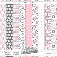 Sweet Love digital papersdigital scrapbooking