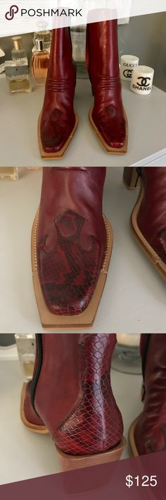 "NEW Bronx Made In Brazil snake skin leather boots Brand new, never worn! No box. Deep red leather with snake skin western boots. 3"" heel. Size 36 - true to size - US retail is $170 Bronx Made in Brazil Shoes"