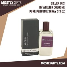 Silver Iris By Atelier Cologne Pure Perfume Spray 3.3 Oz.  Released by the house of Atelier in 2013. This unisex cologne is part of the Collection Metal. An oriental floral scent with a hint of spice to liven things up. The top notes are Italian tangerine, black currant and Chinese pink pepper. The heart notes are iris, violet leaf and mimosa. The bottom notes are tonka bean, white amber and patchouli.  Order One Today.