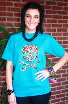 Leopard Skull Short Sleeve Turquoise Tee  $19.95-21.95  http://www.giddyupglamouronline.com/catalog.php?item=3701
