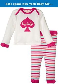 kate spade new york Baby Girls Hey Baby Loungewear Set, Multi Stripe, 3 Months. Two piece lounge wear set with hey baby graphic.