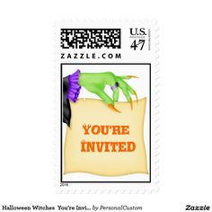 Halloween Witches  You're Invited Postage Stamp