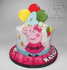 Pig Peppa - cake by Bára Cetkovská - Bářiny dortíky - tolle idee für den Peppa Wutz Kindergeburtstag. Tortas Peppa Pig, Bolo Da Peppa Pig, Peppa Pig Cakes, 1st Birthday Cake For Girls, Peppa Pig Birthday Cake, Pig Cupcakes, Cupcake Cakes, Fete Emma, Disney Cakes