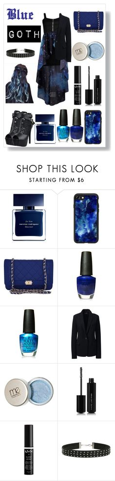 """Blue Goth - Who says Blue can't be gothy?"" by queenmadhatteres ❤ liked on Polyvore featuring Narciso Rodriguez, Casetify, Chanel, OPI, Lands' End, Marc Jacobs, NYX and Miss Selfridge"
