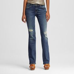Women's Mid-rise Skinny Bootcut Jeans Dark Wash 4L - Mossimo, Size: 4 Long, Blue