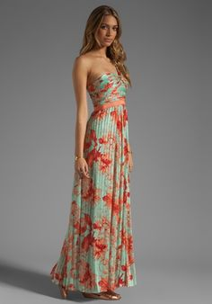 Bcbg silk floral maxi dress