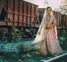 Peach Indian Heavy Embroidered Wedding Lehenga