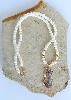 Genuine bone gemstone necklace w/ gold dipped agate druzy gemstone pendant by Studio3712Jewelry