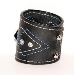 Leather Cuff Bracelet Black Leather Wristband Womans Cuff