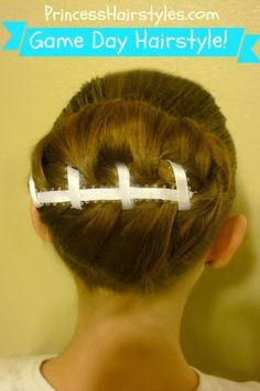 """A fun """"football hairstyle"""" for sports fans, crazy hair day, and Halloween. Box Braids Hairstyles, Girl Hairstyles, Sporty Hairstyles, Cheer Hairstyles, Football Hairstyles, Bouncy Hair, Crazy Hair Days, Princess Hairstyles, Wonder Woman"""