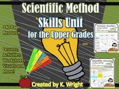 Scientific Method: Model science process skills and inspire young scientists with this middle school scientific method unit plan. This 140-page resource is a must have for engaging students in meaningful analysis, inquiry and scientific design! Includes worksheets, lesson plans, activity cards and teacher visuals.