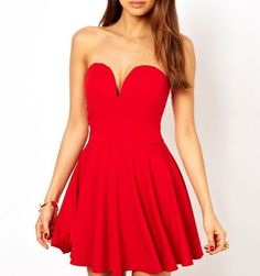 TFNC Fit And Flare Dress With Plunge V Neck- Perfect for college formals