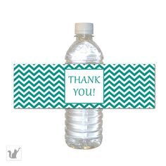 INSTANT DOWNLOAD Chevron Teal Party Water Bottle Labels Wraps - Zig Zag Baby Shower Favors Birthday Party Favors DIY Birthday Items