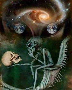 Image about skull in Alien Creatures.UFO by Lew Aliens And Ufos, Ancient Aliens, Arte Do Hip Hop, Grey Alien, Alien Tattoo, Psy Art, Alien Art, Trippy Alien, Dope Art