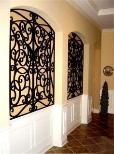 Tableaux® Faux Iron and Veneer decorative grilles allow for unlimited options for wall/niche decor. Niche Decor, Alcove Decor, Art Niche, Wrought Iron Wall Decor, Metal Flower Wall Decor, Wall Decor Lights, Tuscan Decorating, Decorating Ideas, Decor Ideas