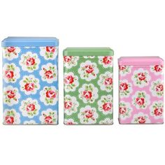 Keep your kitchen organised with this cute and colourful set of tin canisters, includes 3 different sizes in a selection of colours, all complete in our pretty Provence Rose print.
