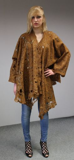Felted free size Jacket  mantle Cinnamon cobweb by doseth on Etsy, €149.00