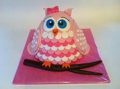 Taarten; Gemaakt door Jonne: 3D uilen taart; babyshower taart