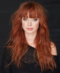 Red Shag With Bangs For Long Hair hair bangs 60 Lovely Long Shag Haircuts f. Red Shag With Ba Long Shag Haircut, Shaggy Haircuts, Shag Hairstyles, Haircuts With Bangs, Redhead Hairstyles, Curly Haircuts, Feathered Hairstyles, Layered Haircuts, Prom Hairstyles