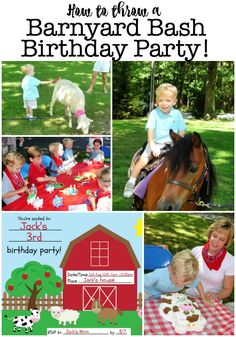 """Kids love farm animals- which is why """"Old MacDonald"""" is often their favorite song when they are toddlers! So why not invite """"Old MacDonald"""" to your home and throw a Barnyard Birthday Party? 3 Year Old Birthday Party, Birthday Party Games For Kids, Boy Party Favors, Birthday Activities, Birthday Themes For Boys, Kids Party Themes, 1st Boy Birthday, Birthday Party Invitations, Birthday Party Themes"""