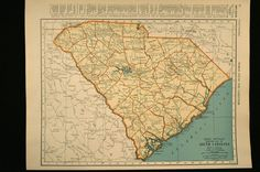 Vintage Map South Carolina State 1930s Original 1935