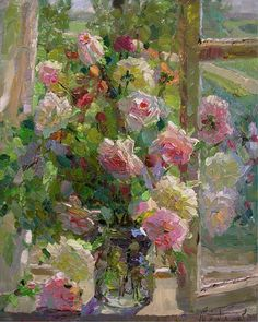 Love the colors in this painting of roses