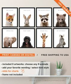 Nursery Baby Animal Wall Art Inspirational, Baby Animals Print for Nursery, Stand Tall and Dream Big, Nursery Prints Animals, Animal Nursery Woodland Animal Nursery, Giraffe Nursery, Nursery Prints, Baby Nursery Neutral, Baby Girl Nursery Decor, Baby Room Decor, Stand Tall, Animal Prints, Dream Big