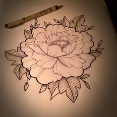 Peony drawing. #peony #peonytattoo #flower #flowertattoo #aceshightattoos #aceshightattooshop