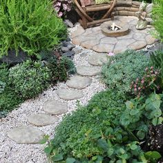 "Miniature Garden Fairy Patio Pavers, Set of 7 by Hardscape Materials. $12.99. size: 2"" - 3"" Diameter. material: Resin. Large natural looking stepping-stones that can be used as steps on a slope as well as part of a patio."