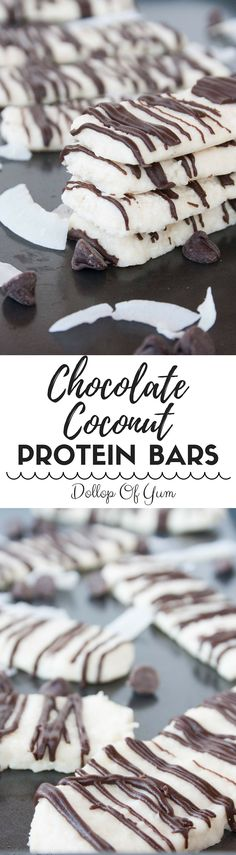 Chocolate Coconut Protein Bars. Super healthy and delicious homemade protein bars that are really easy to make! All clean eating ingredients are used in this healthy protein bar recipe. Pin now to make later.