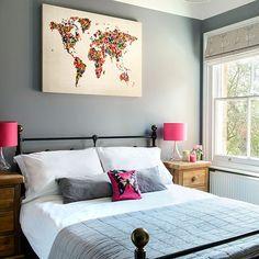 Blue-grey-hot pink bedroom