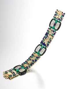 Enamel, Lapis Lazuli And Diamond Bracelet  c. 1920's