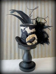 Mad hatter sweet 16 ideas on pinterest mad hatter party for How to decorate a hat for a tea party
