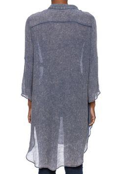 Blue Sheer Shirt Dress
