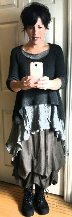 "Cara May Knits ... ""Happy with my silver tunic layered under Coco Knits Louisa!"""