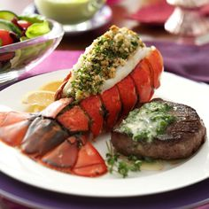 For an intimate dinner with close friends, serve this stunning dinner of tenderloin steaks and lobster tail. Your guests will think they are dining at a fine restaurant when you serve them this surf and turf dish. —Taste of Home Test Kitchen Lobster Recipes, Seafood Recipes, Cooking Recipes, Copycat Recipes, Great Recipes, Dinner Recipes, Favorite Recipes, Lobster Tails, Appetizers