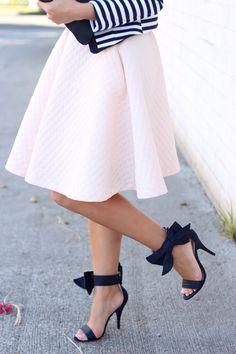 H&M blush circle skirt - striped jacket - bow sandals // StylishPetite.com