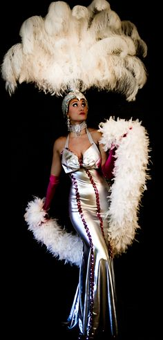 Las Vegas Showgirl. VaVa Voom Pink on Silver Gown. Las Vegas Showgirl Costume.