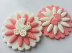 Baby Girl Daisy Feet Stroller Carriage White & Pink Edible Gumpaste Fondant Cupcake toppers set by JECreativelySweet on Etsy