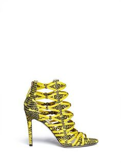 JASON WU - Snake print caged leather sandals | Yellow and Orange Sandals High Heels | Womenswear | Lane Crawford