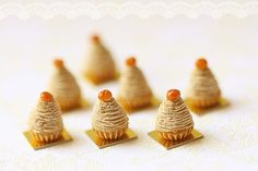 Dollhouse Food Miniatures - Mont Blanc Dessert in 1/12 dollhouse miniature scale are handmade by me using air dry clay.    A must to your