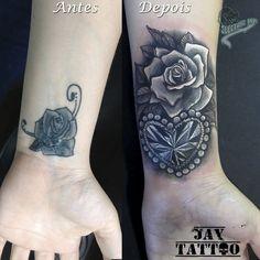cover up, cobertura de tatuagem, rosas e diamante coração, roses tattoo