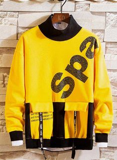 Men's long sleeve pull over pattern & letter print, multi color, high neck. Trendy Boy Outfits, Urban Outfits, Trendy Hoodies, Cool Hoodies, Boys Clothes Style, Letter Patterns, Cosplay Outfits, Boys Shirts, Mens Sweatshirts