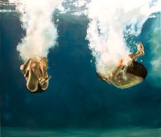 Gallery Henoch - Eric Zener, Love, Oil on Canvas, x Eric Zener, Realistic Oil Painting, Figure Painting, Painting & Drawing, Underwater Painting, Breathing Underwater, Kunst Online, Love Oil, Underwater Photography