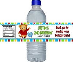 Daniel Tiger's Neighborhood Party Favors Water Bottle Labels Wrappers