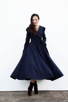 Navy Blue Hooded Wool Coat / Women Wool Jacket / Winter Hooded Jacket / Maxi Coat / Long Jacket - NC647