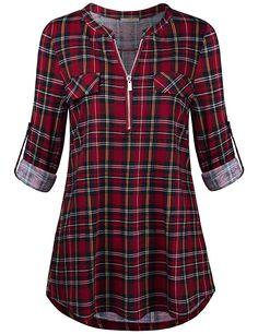 Baikea Women's Rolled Sleeve Zipped V Neck Plaid Shirt Casual Tunic Blouses - Damen Mode 2019 Kurta Designs Women, Blouse Designs, Plaid Shirt Women, Women Tunic, Blouse Dress, Mode Outfits, Blouse Styles, Shirt Blouses, Casual Shirts